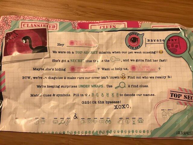 LOLサプライズシリーズ4(アイスパイ)のリトルシスターズ、暗号、レター、手紙